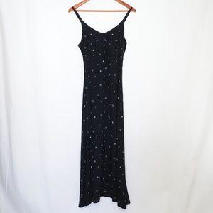 Gap Black Floral Rayon Maxi Dress size 8